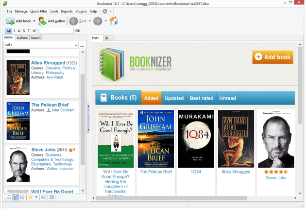 Booknizer main page