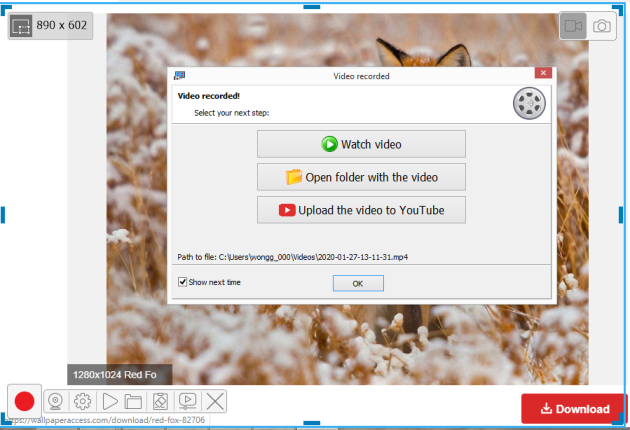 Recorded video tab