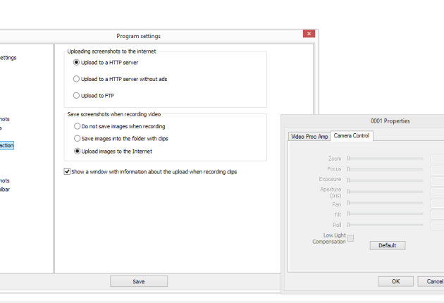 Screenshot and camera settings