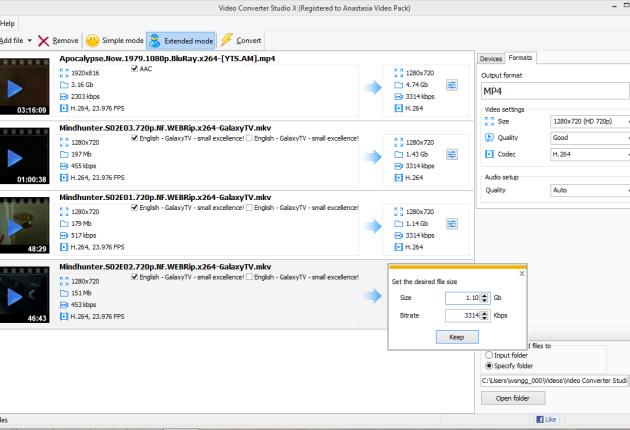 Set the output file size manually