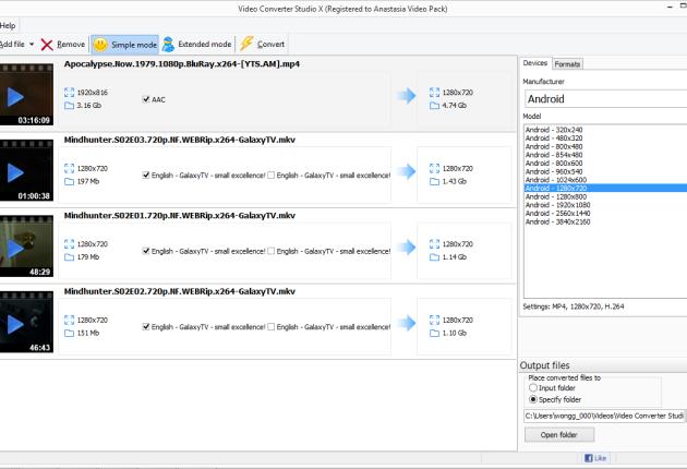 Video converter studio main window - simple mode